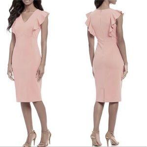 Ivanka Trump midi crepe ruffle dress 10 blush pink